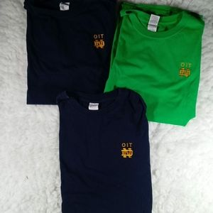 3 Notre Dame OIT Embroidered S/S T Shirts LG